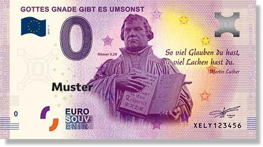 Bild einer Skulptur des ernst dreinschauenden Martinluther auf einem 0,- € Schein.