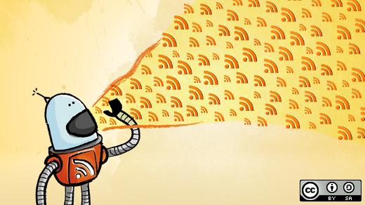 Roboter spuckt lauter RSS-Symbole in die Luft, ergo: der Button zum RSSfeed