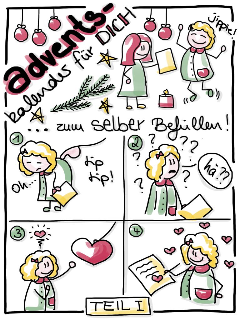 5 kleine selbstgemalte Bildchen, die zeigen, wie jemand sich über einen Adventskalender freut, dann aber merkt, das er ihn selbst befüllen muss. im 3. Bildchen wird ihm Liebe in form eines Herzchens von oben geschenkt. Da versteht er und befüllt seinen Kalender.
